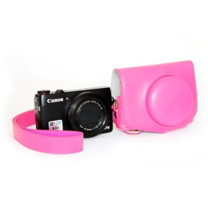 Protective Leather Camera Cover with Shoulder Strap for Canon G7X - Pink