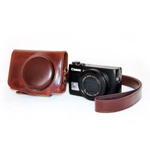Protective PU Leather Camera Case with Shoulder Strap for Canon G7X - Coffee