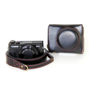 PU Leather Camera Protective Pouch + Strap for Canon PowerShot G7X MarkII Digital Camera - Black