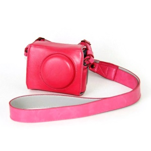 PU Leather Camera Protective Case + Strap for Canon PowerShot G7X MarkII Digital Camera - Rose