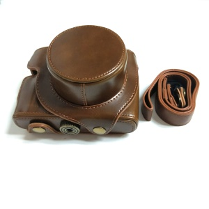 PU Leather Camera Bag + Strap for Leica D-LUX (Typ 109) Digital Camera - Brown