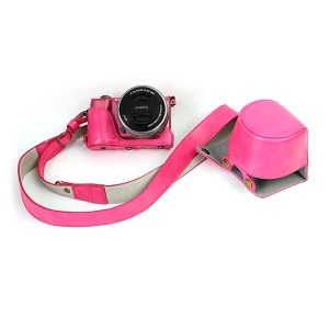 PU Leather Protective Case + Strap for Sony NEX-3N/Alpha a5000/Alpha a5100 with 16-50mm Lens - Rose