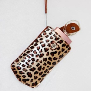 Vertical Leopard Texture PU Leather Camera Case for Sony KW1, Casio TR550/500/350/350s/600 - Brown