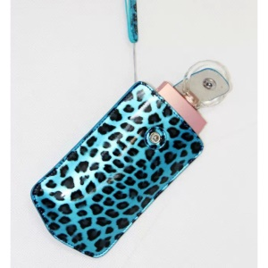 Vertical Leopard Texture PU Leather Camera Bag for Sony KW1, Casio TR550/500/350/350s/600 - Blue