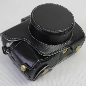 Genuine Cowhide Leather Camera Protection Case for Olympus OMD E-M10III - Black