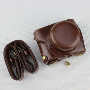 Coffee - Detachable Base PU Leather Camera Protection Pouch + Strap for Panasonic GF10