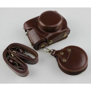 Coffee - PU Leather Half Camera Case Bag Protector for Olympus E-PL9 EPL9 Camera