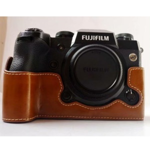 PU Leather Half Bottom Camera Protective Case for Fujifilm X-H1 - Brown
