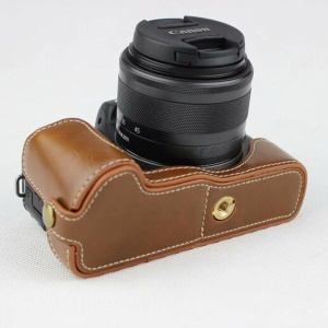 Half Camera PU Leather Protective Case for Canon EOS M50 - Brown