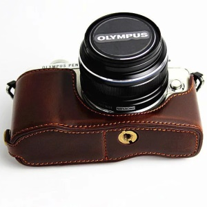 PU Leather Protective Camera Half Bottom Cover for Olympus E-PL7 / E-PL8 / E-PL9 - Coffee
