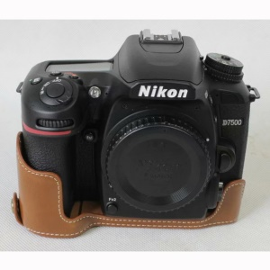 Half Camera PU Leather Protective Case for Nikon D7500 Digital SLR Camera - Brown