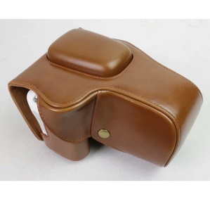 PU Leather Camera Protection Pouch Case for Canon EOS 200D - Brown