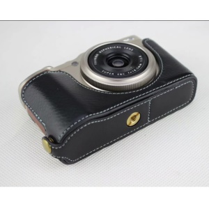 Genuine Leather Half Bottom Camera Protection Case for Fujifilm XF10 Digital Compact Camera - Black