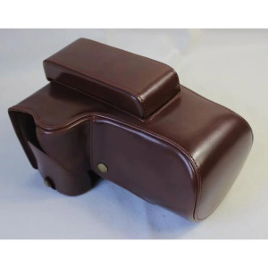 PU Leather Camera Protection Case + Strap + Camera Lens Bag for Nikon P1000 - Coffee