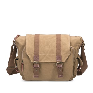 Casual Vintage Canvas Men's Messenger Bag Camera Bag Satchel Briefcase - Light Brown