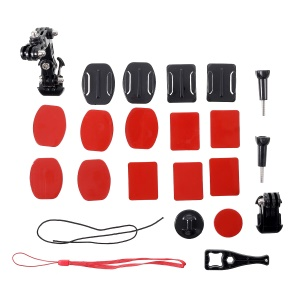 AT833 23-in-1 Helmet Chin Jaw Swivel Arm Mount Set for GoPro Hero4 Session/Hero 7/6/5/4/3+/3/2/1/ SJCAM Action Cameras