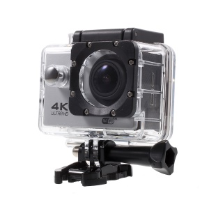 "QUANZHI V3 2"" 4K Ultra HD 16MP WiFi 170-degree Wide Angle Waterproof Sports Camera - Silver Color"