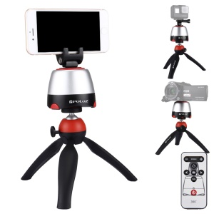 PULUZ PU362 Electronic Rotary Panoramic Tripod Mount with Remote Controller for Phones, GoPro, DSLR Cameras - Red