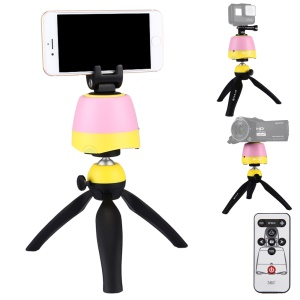 PULUZ PU362 Electronic Panoramic Tripod Stand with Remote Controller for Phones, GoPro, DSLR Cameras - Pink + Yellow