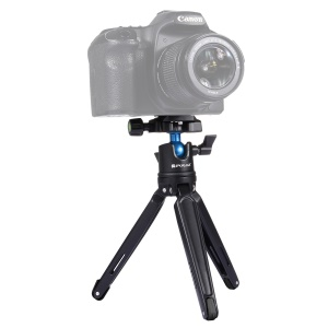 PULUZ PU3002 Mini Metal Desktop Tripod Mount with Adjustable Height for DSLR and Digital Cameras - Black