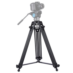 PULUZ PU3003 Professional Heavy Duty Video Camcorder Aluminum Alloy Tripod for DSLR / Digital Cameras - Black