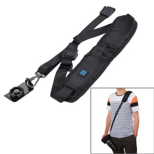 PULUZ Anti-Slip Nylon Quick Release Soft Pad Single Shoulder Camera Strap with Metal Hook for SLR / DSLR Cameras
