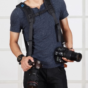 PULUZ PU6002 Quick Release Double Shoulder Harness Soft Pad Decompression Foam Shoulder Strap for DSLR Cameras