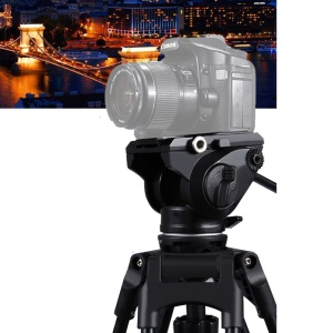 PULUZ PU3501 Heavy Duty Video Camera Tripod Action Fluid Drag Head with Sliding Plate for DSLR & SLR Cameras - Black
