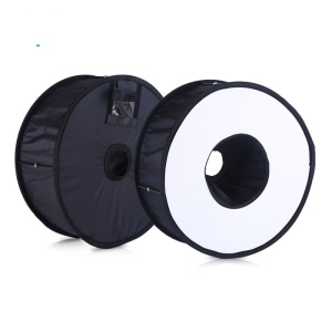 45cm Foldable Ring Speedlite Flash Diffuser Macro Shoot Round Softbox for Canon Nikon Speedlight - Black