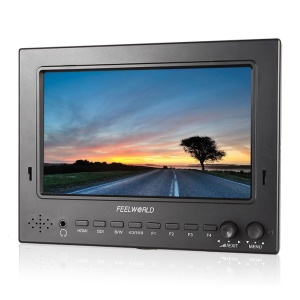 "FEELWORLD ST702-HSD 7"" IPS 1024x600 Lightweight 3G-SDI HDMI Camera Field Monitor - Canon LP-E6 Battery Plate"