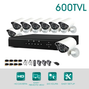 KV-D8C8 8CH Analog DVR and 8pcs 600TVL Camera Kits (PAL) - UK Plug
