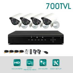 KV-D4C4-CS7010C 4CH DVR Kits with 4 700TVL Cameras (PAL) - EU Plug