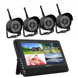 """2.4G 7"""" TFT Wireless Video Baby Monitor 4CH DVR + 4 Outdoor Cameras WRC890+WCM7064B Security System - US Plug"""