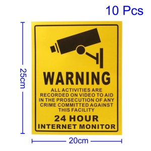 10Pcs CCTV Security Surveillance Camera System Warning Decal Signs Stickers, Size: 25 x 20cm