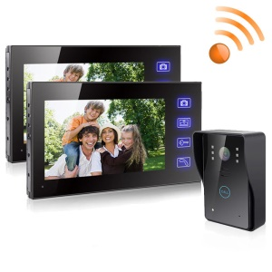 2.4GHz 7-inch TFT Wireless Video Door Phone Building Intercom System One-to-Two 806MJW12 - UK Plug