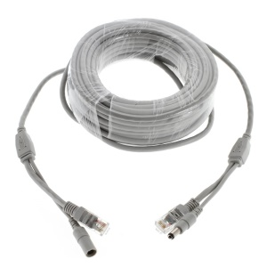 15M CCTV High Quality Network & Power Cable, OD4.5mm RJ45 & DC Male to RJ45 & DC Female