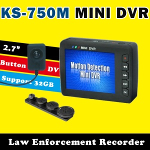 CCTV Mini Button Camera with Portable Pocket Recorder DVR, 2.7 inch LCD Screen KS-750A+303 - EU Plug