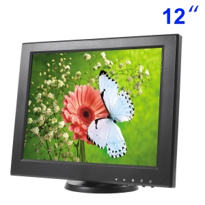 12 inch CCTV TFT LCD Monitor with VGA, AV, TV, HDMI Inputs - EU Plug