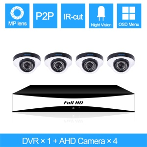 SINOCAM 720P 4CH AHD DVR Kits with 20m IR Distance, 1PCS DVR + 4PCS 720P Metal Dome Camera (SN-AHK-40010D2) - PAL / EU Plug