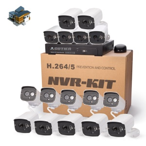 COTIER 720P 16CH NVR Kit with 16 x 1.0MP Outdoor IP Cameras IR 20m Support P2P Onvif (N16B7H/Kit-1.0MP) - UK Plug