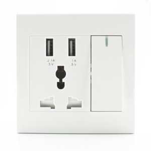 RNAI Universal 2 USB Ports + AC Socket Wall Outlet Charger Panel with Switch and LED Indicator