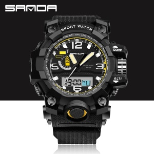 Outdoor LED Light Digital Watch 30M Waterproof Shockproof Sports Watch for Men - Black