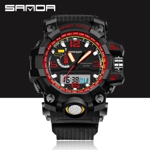 Dual Time Display LED Light Digital Watch 30M Waterproof Shockproof Outdoor Sports Watch for Men - Red