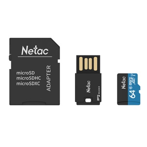 NETAC P500 Class 10 64GB Micro SD TF Memory Card + Card Reader + SD Adapter