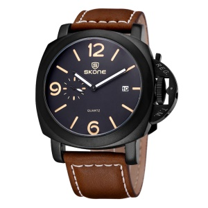SKONE Date Real Small Second Dial Quartz Watch PU Leather Band - Coffee