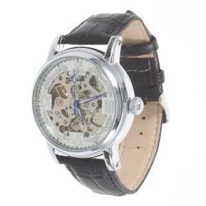 LUCKY FAMILY Hollow Carving Manual Winding Mechanical Watch Genuine Leather Strap - Black