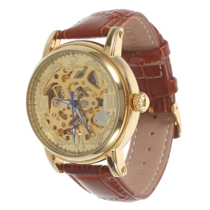 LUCKY FAMILY Hollow Carving Mechanical Watch Manual Winding Genuine Leather Band - Brown