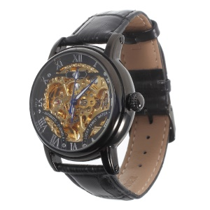 LUCKY FAMILY Hollow Carving Automatic Mechanical Watch Genuine Leather Strap - Black