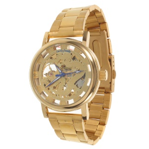 LUCKY FAMILY Hollow Classic Hand-winding Mechanical Watch with Stainless Steel Link Bracelet - Dragon