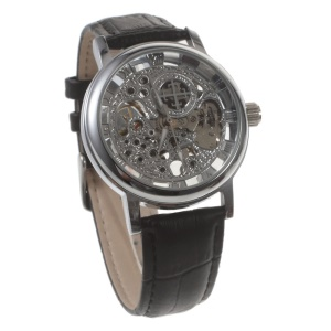Stem-Winder Engraved Pattern Mechanical Watch with Genuine Leather Band - Black / Silver